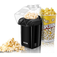 Aicok Popcorn Maker, 18-Cup Hot Air Popcorn Popper No Oil Needed, 1200W Fast Popcorn Machine with Wide Mouth Design, Measuring Spoon, Removable Lid