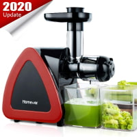 Juicer Machines, HOMEVER Slow Masticating Juicer for Fruits and Vegetables, Quiet Motor, Reverse Function, Easy to Clean Cold Press Juicer Machine with Juice Cup & Brush