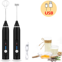 2020 Newest Rechargeable Milk Frother Handheld Electric Foam Maker with 2 Stainless whisks, 3-Speed Adjustable Mini Blender Perfect for bulletproof coffee,Egg Mix, Latte Coffee Cappuccino, Hot Chocolate Matcha