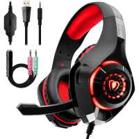 Gaming Headset for PC PS4, Stereo Surround Sound Gaming Headphones with Noise Cancelling Microphone Volume Control