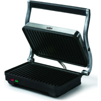 Salton Stainless Steel Electric Panini Press Grill with Floating Hinged Lid for any Sandwich Thickness