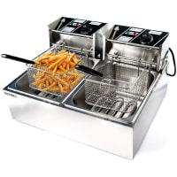 Biltek Commercial Deep Fryer Electric Countertop Dual Tank Basket 11L 3200W up to 374 Deg F