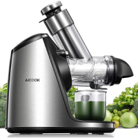 AICOOK Juicer Machines, 3in Large Feed Chute, Stainless Steel Slow Masticating