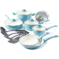 GreenLife Soft Grip 15 Piece Ceramic Non-Stick Induction Cookware Set