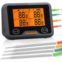 Inkbird WiFi Bluetooth BBQ Thermometer IBBQ-4BW, Rechargeable Wireless Meat Thermometer