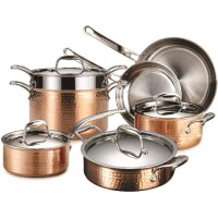 Lagostina Martellata Tri-ply Hammered Copper 11 PC Pots and Pans Cookware Set