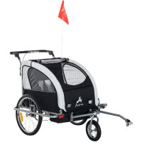 Aosom 2-in-1 Double Child Baby Bike Trailer Stroller & Jogger